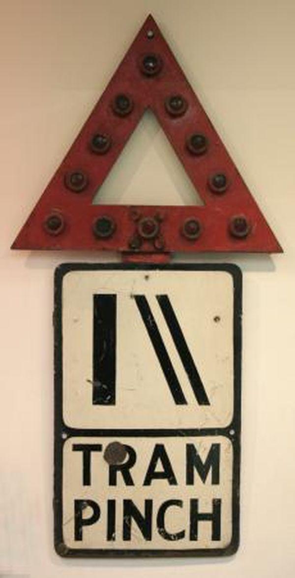 Image 1 of Sign; Standard MOT road warning sign, tram Pinch, red warning triangle, London, circa 1936